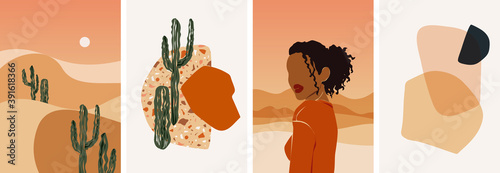 Obraz Collection of contemporary abstract art posters. Paper cut male & female, abstract & floral collages, landscape scenes. Design for social media, wallpapers, postcards, prints, romance. - fototapety do salonu