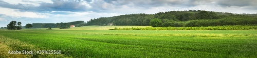 Fotografering Picturesque panoramic scenery of the green agricultural field, country house and forest hills in the background