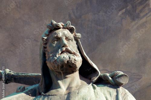Fotografie, Obraz Close up of Wilhelm Tell statue in Altdorf, Switzerland