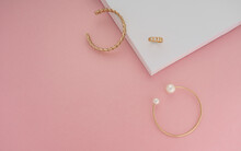Top View Of Golden Jewelries O...