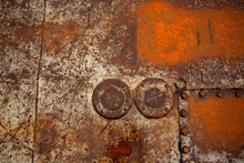 Old Rough Rusted Metal Plate Close Up