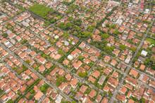 Aerial View Of Dense Town In Viareggio, Italy.