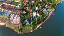 Aerial View Of Houses In Luxury Riverside Condominium, São Paulo, Brazil