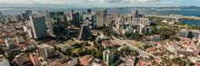 Aerial Panoramic View Of Business District In Downtown Rio De Janeiro, Brazil