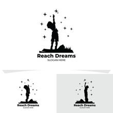 Set Of Little Kids Reach Star Logo Design