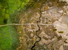 Aerial View Of Wooden Platform Bridge Crossing Swamps, Nin, Croatia.