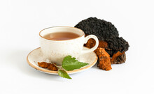 Chaga Tea Isolated On A White Background. Organic Drink With Birch Mushroom.