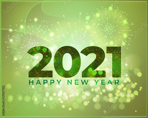 Leinwand Poster Vector illustration of Happy New Year 2021 greeting with beautiful bokeh background, fireworks, New year wishes poster
