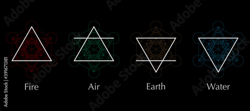 four elements icons, line, triangle and round symbols set template Canvas