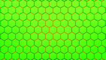 Abstract Hexagonal Background. A Large Number Of Green And Orange Hexagons. 3d Wall Texture, Hexagonal Blocks Clusters. Cellular Panel. 3d Rendering Geometric Polygons