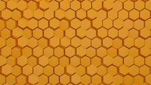 Abstract Hexagonal Background. A Large Number Of Orange Hexagons. 3d Wall Texture, Hexagonal Blocks Clusters. Cellular Panel. 3d Rendering Geometric Polygons