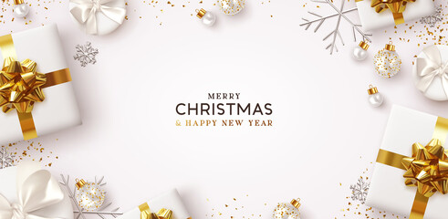 Panel Szklany Wenecja Merry Christmas and Happy New Year. Background Xmas design of realistic gifts box, 3d bauble balls, glitter gold confetti. Christmas poster, greeting cards. Flat lay, top view. Holiday composition