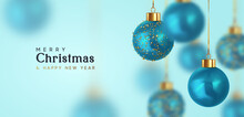 Christmas Balls. Happy New Year And Merry Christmas. Background With Realistic 3d Blue Xmas Bauble Balls Hanging On Ribbon. Vector Illustration
