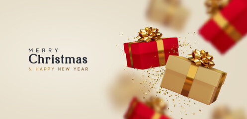 Obraz na Szkle Siatkówka Christmas gift box. Happy New Year and Merry Christmas. Background with realistic 3d red and beige Xmas surprise gifts falling. vector illustration