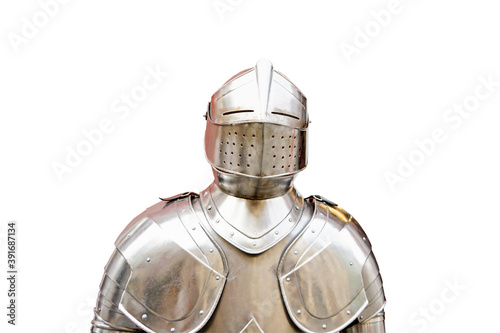 Fotografia Warrior suit of armor isolated on white background.