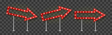 Realistic Red Arrow Signage With Yellow Light Bulbs Pointed Right, Up And Down. Show Sign Banner Template With Shadow. Vector Illustration.