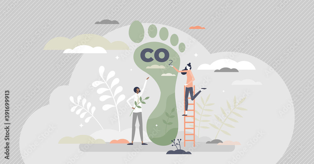 Fototapeta Carbon footprint as CO2 emission pollution amount in air tiny person concept