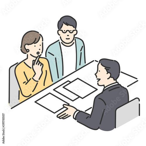 Slika na platnu 窓口で相談をするカップルと接客をする担当者のイラスト素材