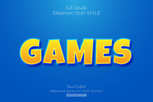 Games Cartoon Yellow Blue Editable Text Effect