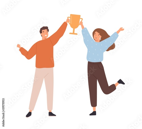 Couple of man and woman winners holding golden goblet. Happy successful people win award. Concept of goal achievement celebration. Flat vector cartoon illustration isolated on white