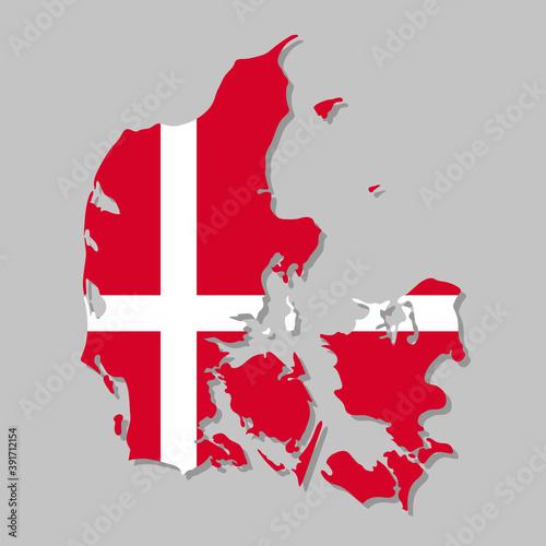 Wallpaper Mural Danish flag on the map