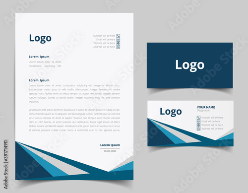 Fototapeta Business card and letterhead design set.  Branding identity template for corporate company. Vector illustration obraz na płótnie
