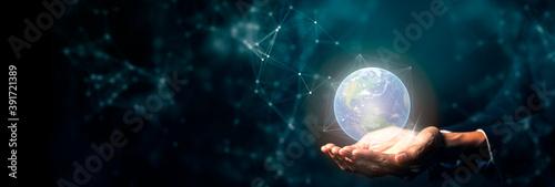 Fototapeta Hand on digital technology cyber space smart world, futuristic smart digital solution internet of thing wireless technology. obraz