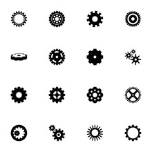 Gear Icon - Expand To Any Size - Change To Any Colour. Perfect Flat Vector Contains Such Icons As Settings Wheel, Cogwheel, Handover, Clock Or Bicycle Mechanism, Setup Or Options Cog And More.