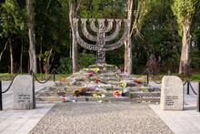 Menorah Monument In Memory Of Jews Victims At The Babyn Yar National Historical Memorial. October 2020 Kyiv, Ukraine.