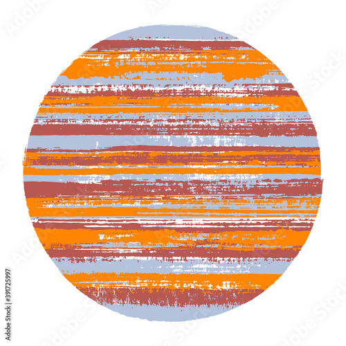 Fototapeta Circle vector geometric shape with striped texture of paint horizontal lines. Old paint texture disc. Label round shape logotype circle with grunge background of stripes. obraz na płótnie