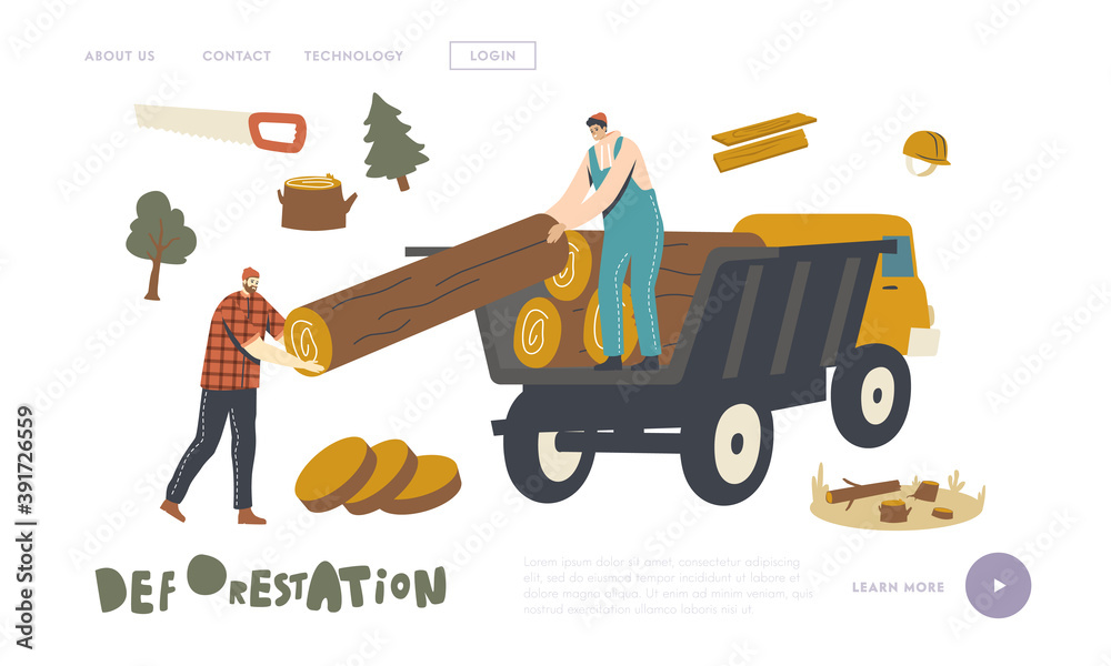 Fototapeta Deforestation, Forest Trees Cutting and Transportation Landing Page Template. Woodcutter Male Characters Load Wood Logs