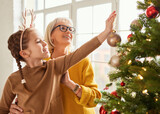 Mature woman and girl decorating Christmas tree together