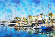 Painting Of Puerto De Morgan At Gran Canaria Island. Spain.