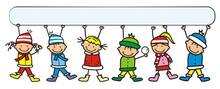 Kids At Winter Dress With Blank Banner, Conceptual Vector Illustration
