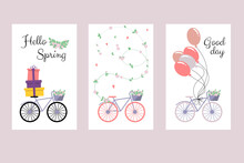 Cute Postcards With Bike And F...