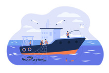 Professional Fishermen Working...