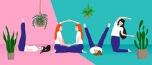 Positive Banner With A Group Of Happy Girls In Yoga Poses. The Concept Of Good Health, Partner Yoga, Love And Caring For Your Body. The Figures Represent The Word LOVE. Vector Art And Illustration.