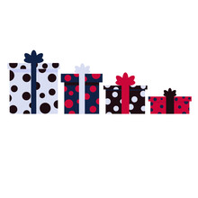 Multicolored Gifts With Polka Dots Dark Colors