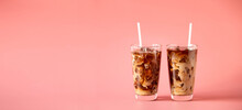 Glasses Of Coffee Milk On Pink Background. Cold Beverage Tasty. Refreshment Food. Web Banner