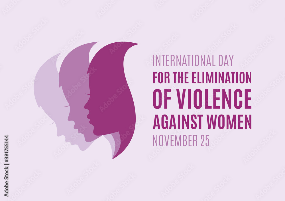 Fototapeta International Day for the Elimination of Violence against Women vector. Woman face profile purple silhouette vector. Pretty girl profile face silhouette vector. Stop violence against women vector