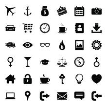 Mixed Icon Set. Black Icon Set. Icon Of Business, App, Web And Ui.