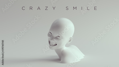 Fotografia Non-Binary Crazy Smile Female Male White Bust Head Back and Shoulders Front View