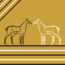 Two Saddled Stallions Silhouettes. Black And White Horses Stand Opposite Each Other. Horse Racing. Derby. Horseback Riding. Racehorses Outline. Trendy Hipster Linear Style. Graphics For Stable, Farm.