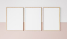 Three Wooden Frames On Pink And White Wall, Frame Mockup, 3d Render