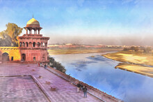 View Of Jamuna River From Taj Mahal Colorful Painting