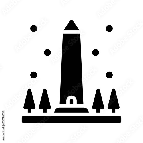 Tela snow town in winter related obelisk with ice and tree vectors in solid design,