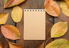 Open Notebook With Blank Brown...