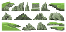Set Of Rocks, Hills, Cliffs, Mountains Peaks And Stones Isolated On White Background. Rocky Landscape Elements. Colorful Vector Illustration.