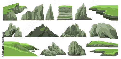 Obraz na plátne Set of rocks, hills, cliffs, mountains peaks and stones isolated on white background