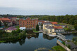 Aerial view of the small hydroelectric power plant on the Angrapa river in Ozersk, Kaliningrad, Russia
